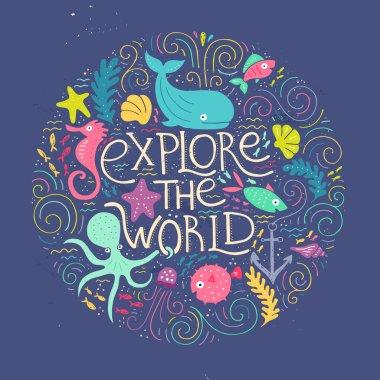 Explore World handdrawn poster