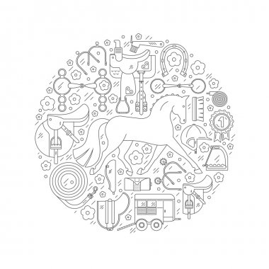 Modern line style equine circle conceptual illustration with different horseriding elements