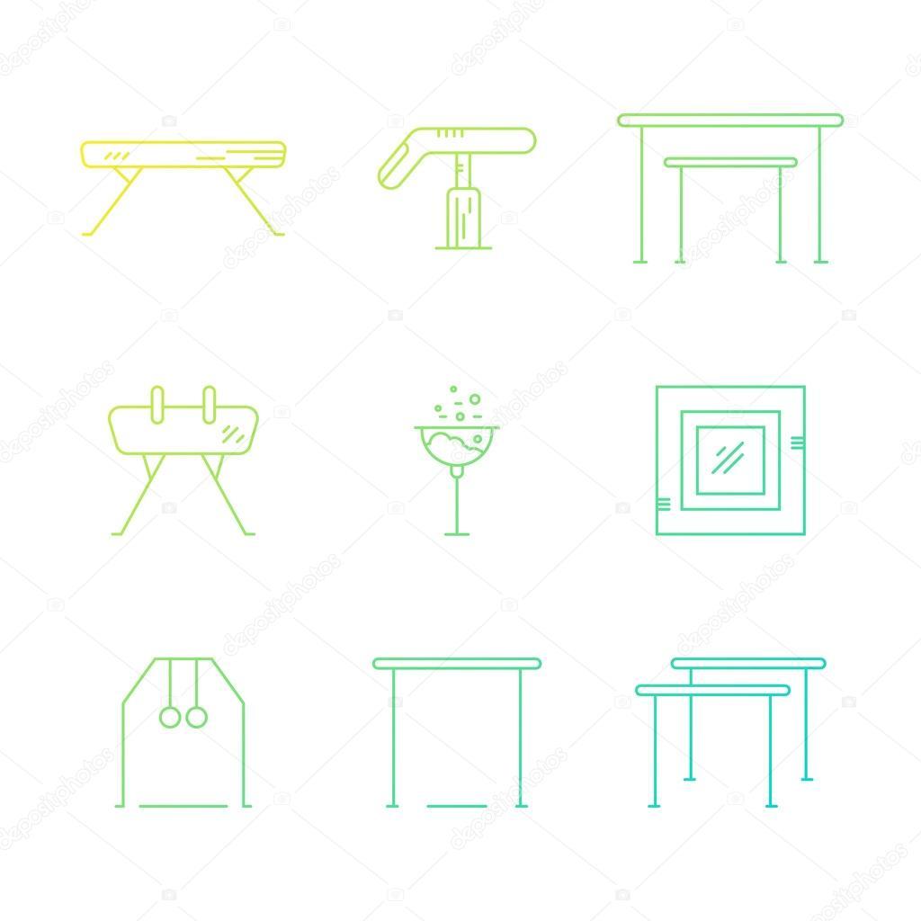 conjunto de logotipo de gin225stica art237stica � vetores de