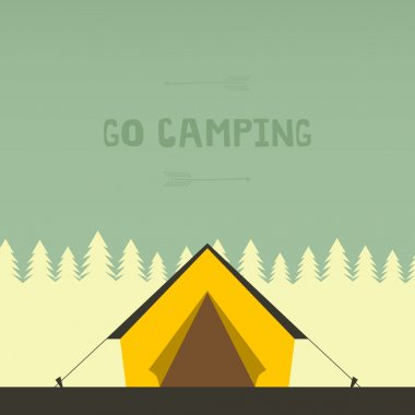 Graphical camping illustration made in flat style