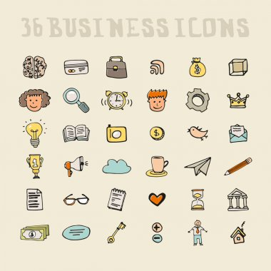 Set of business icons made in fun doodle way