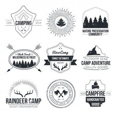 Set of vintage camping and outdoor activity logos.