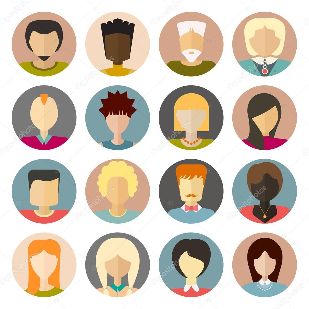 Set of flat people icons
