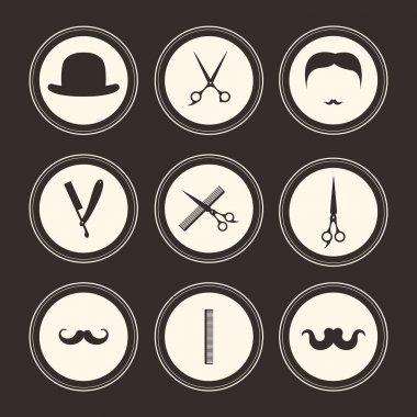 Set of barber and haircut logos
