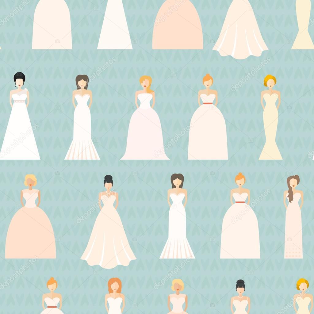 Novias en vestidos de novia diferentes — Archivo Imágenes ...