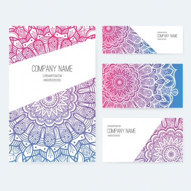 Set of business card with lace ornament