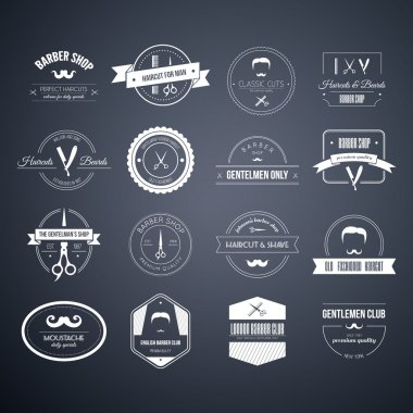Set of barber and haircut logos