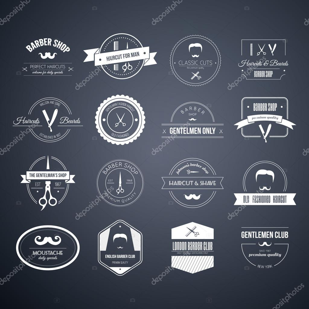 Conjunto de logotipos barbeiro e corte de cabelo — Vetores de Stock