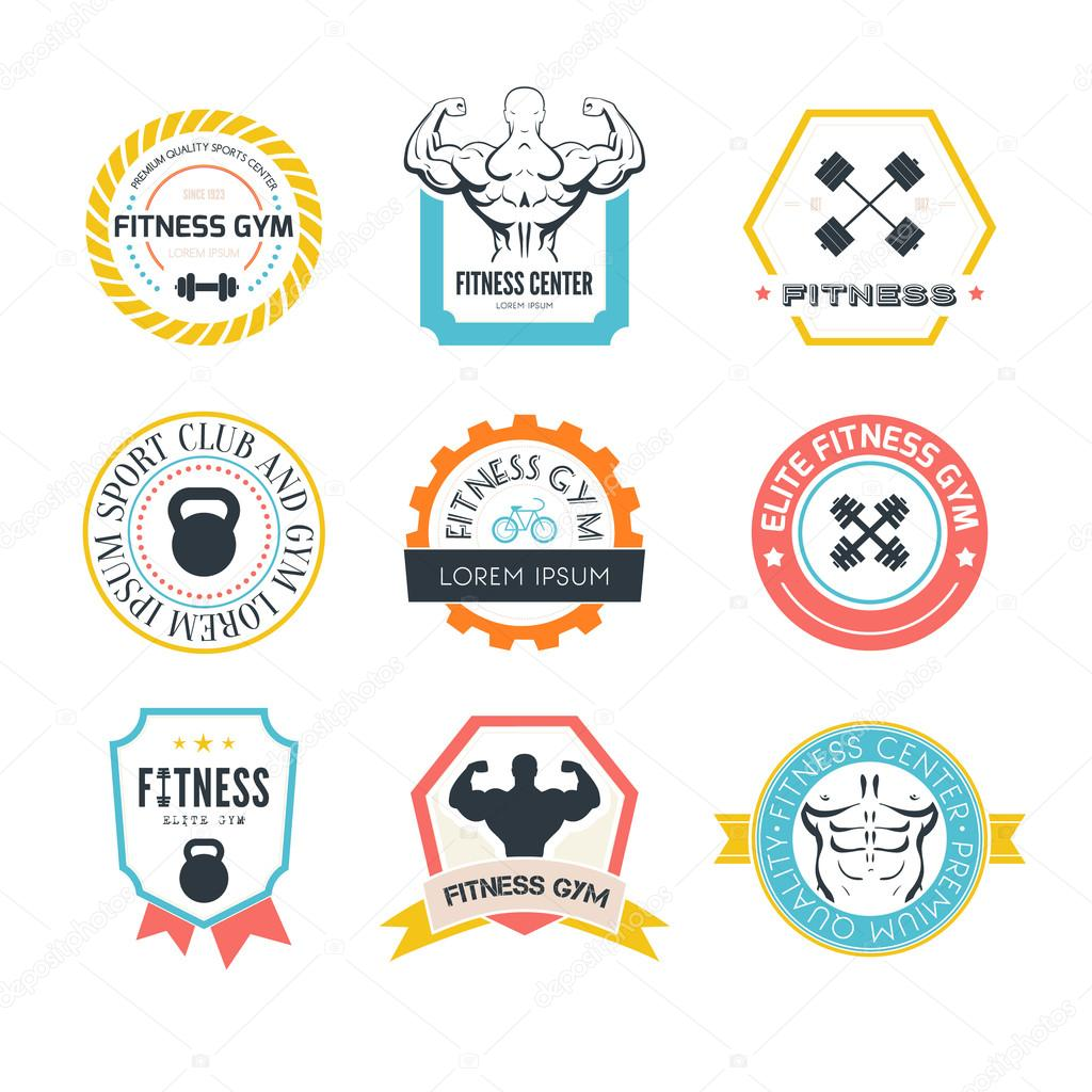 Fitness And Sport Gym Logos Stock Vector