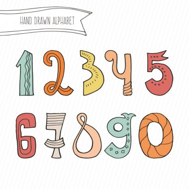 Cute hand drawn numers for kids made in vector. Doodle math elements from 0 to 9. Isolated characters. stock vector