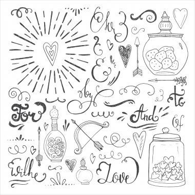 Romantic hand drawn elements