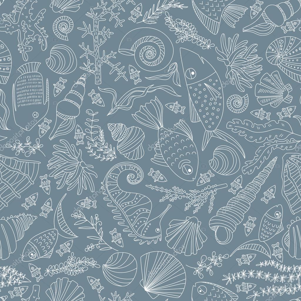 Patron para océano dibujados a mano — Vector de stock ...