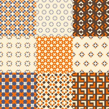 Set of nine vector seamless geometrical patterns. Vintage textures. Decorative background for cards, invitations, web design. Retro digital paper. clip art vector