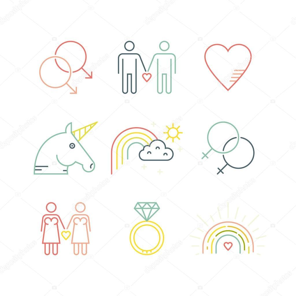 Iconos de amor gay y matrimonio gay — Archivo Imágenes Vectoriales ...