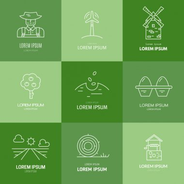 Set of agricultural logos