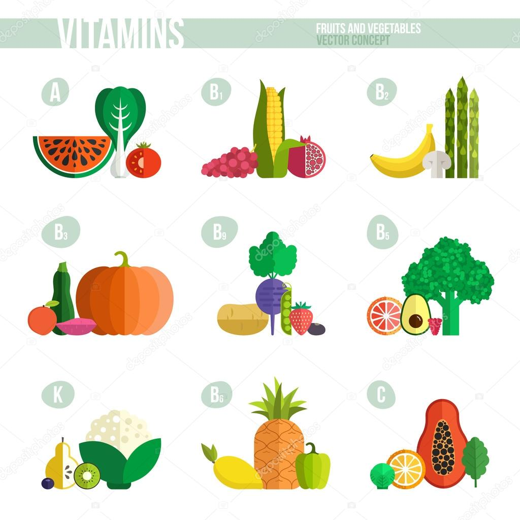 vitaminas a b k c en frutas y verduras archivo imágenes