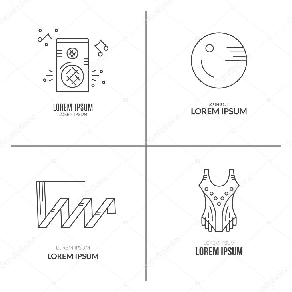 Collection With Different Rhythmic Gymnastics Objects Stock Vector