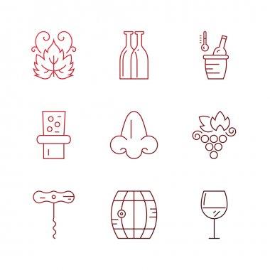 wine and vineyard symbols.