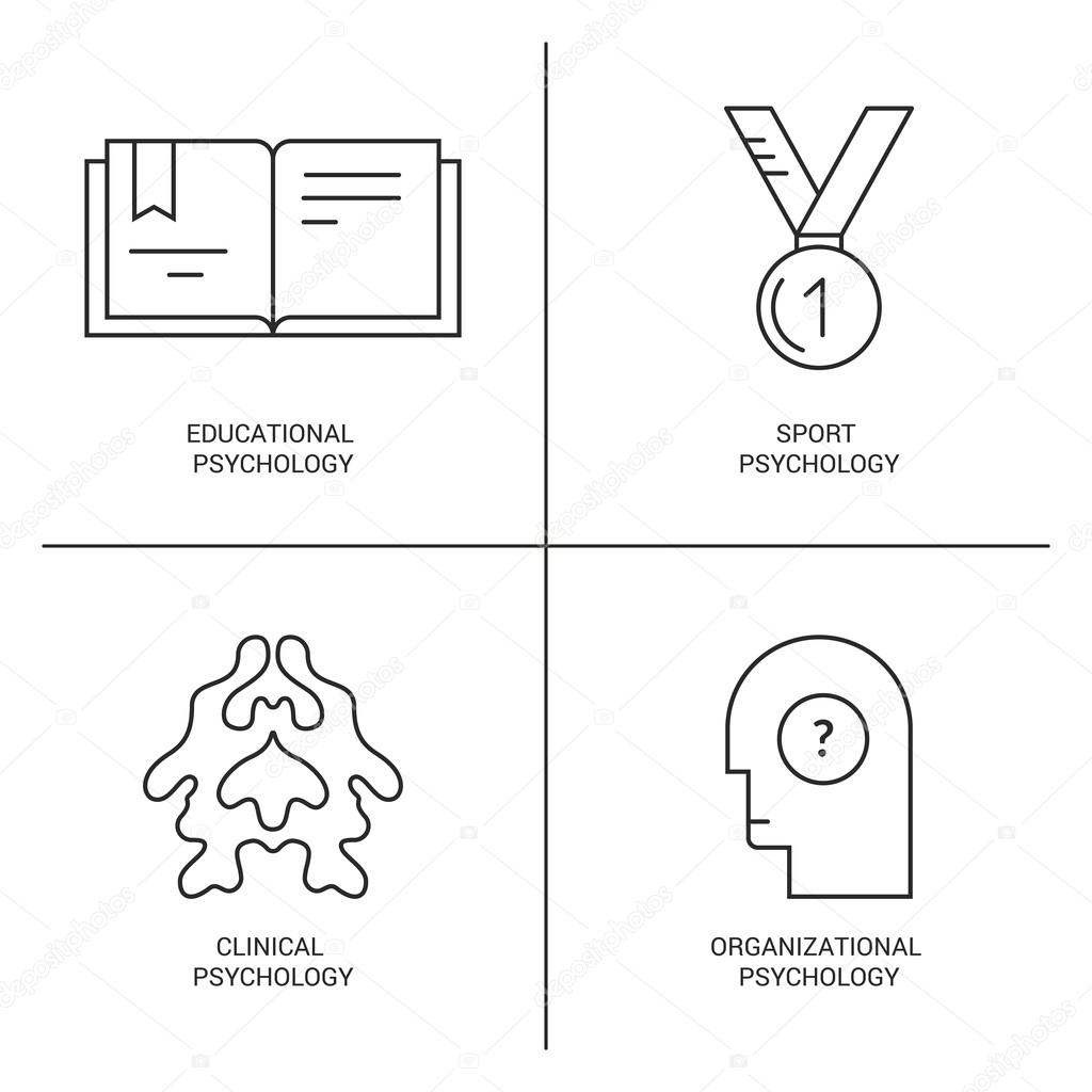 icons introducing different psychology theories stock vector