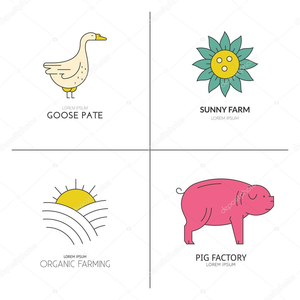 Colorful logos for farming industry