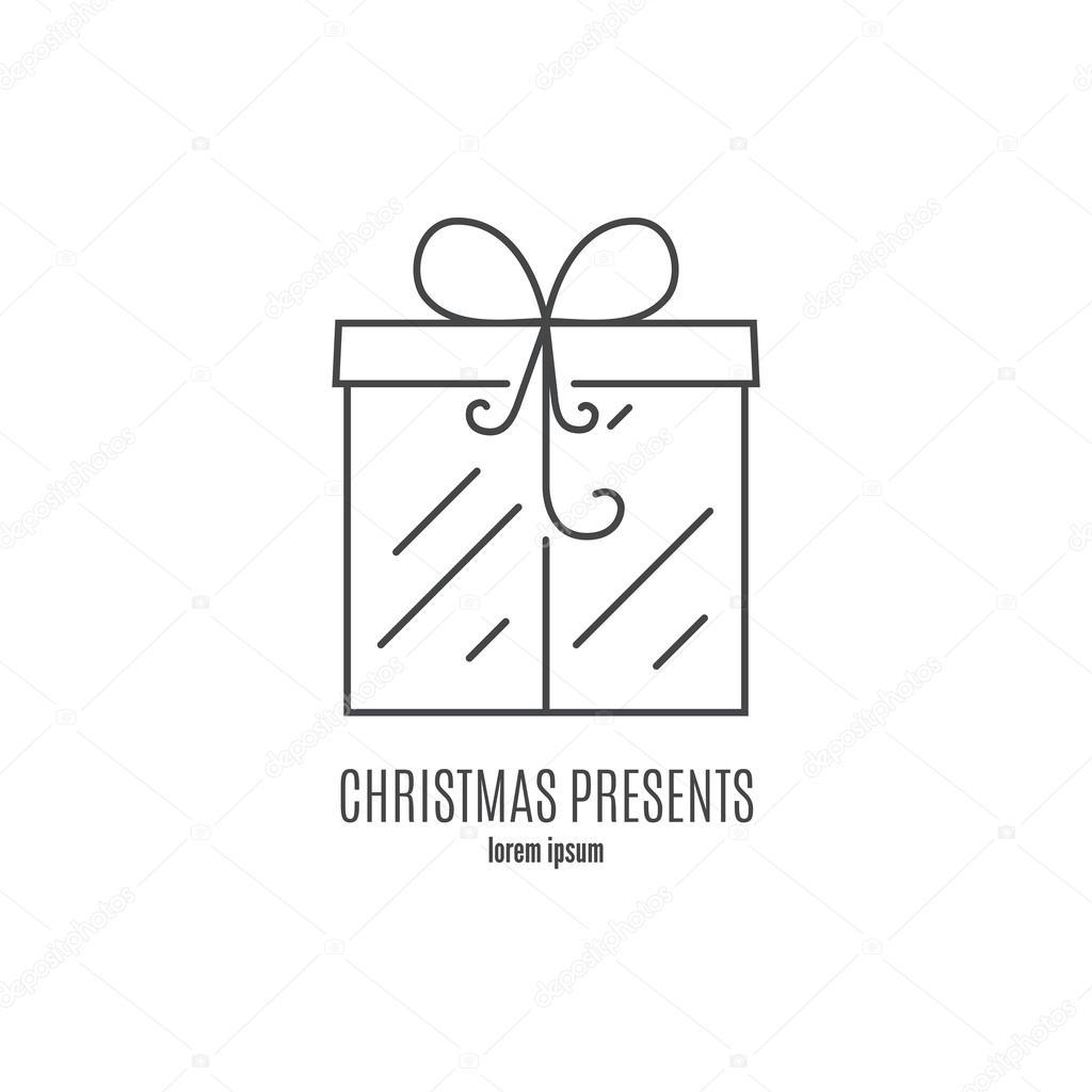クリスマス プレゼントとロゴのテンプレート ストックベクター