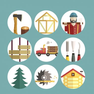 Woodwork and timber industry icons