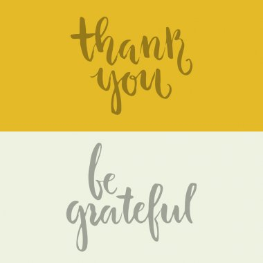 Thank you and be grateful lettering