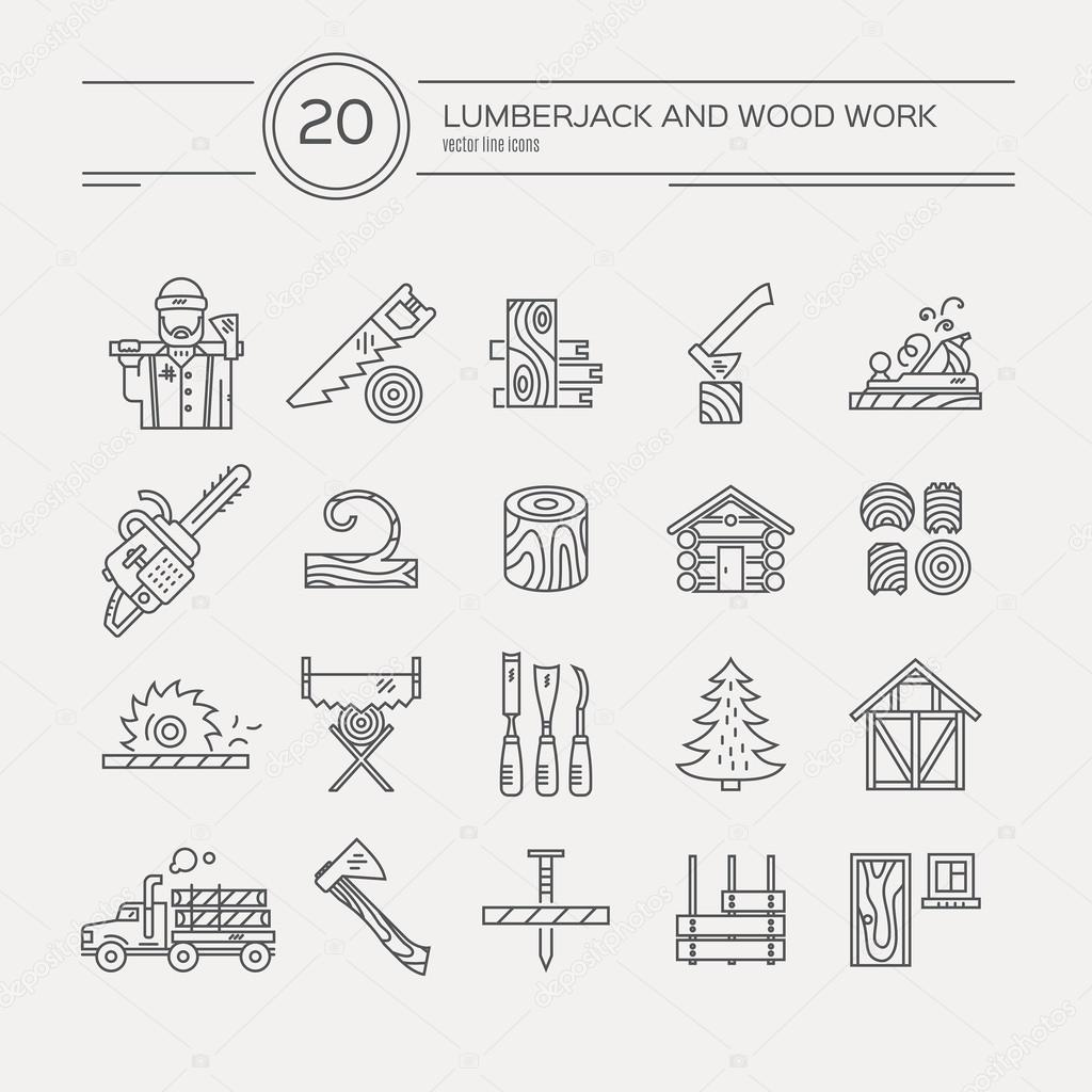 Timber industry icons collection