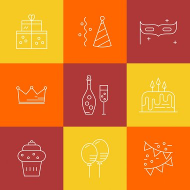 Set of party icons made in line style vector. Celebration symbols. Design elements for event planning company or birthday party. clip art vector