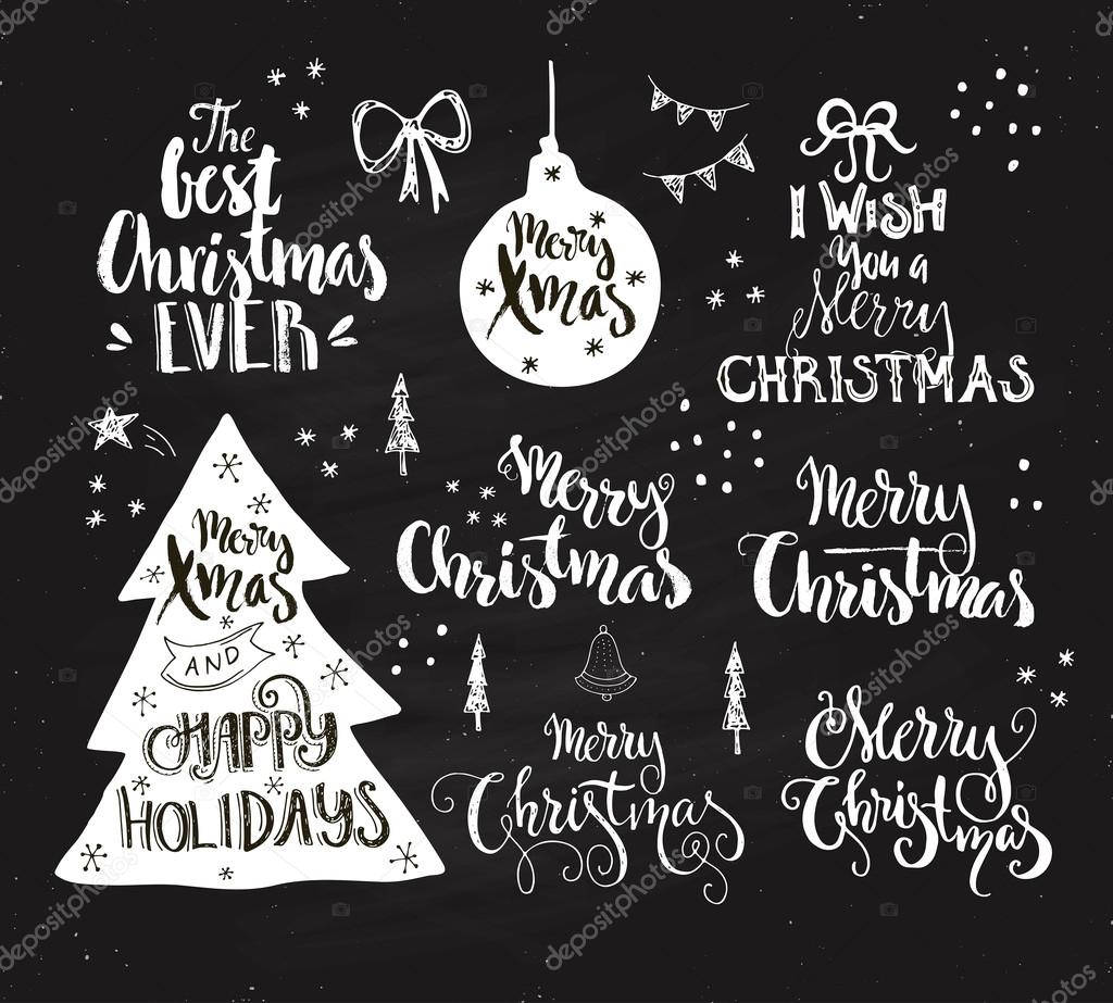 Merry Christmas And Happy Holidays Signs Stockvector