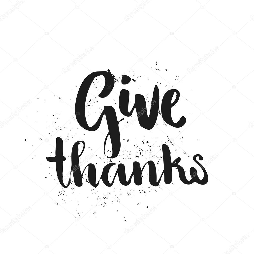 Give Thanks Hand Lettering Stock Vector