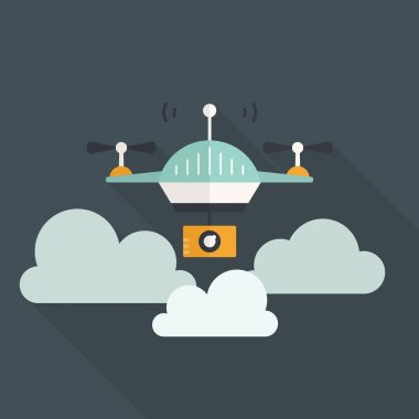 Card with drone flying in the clouds