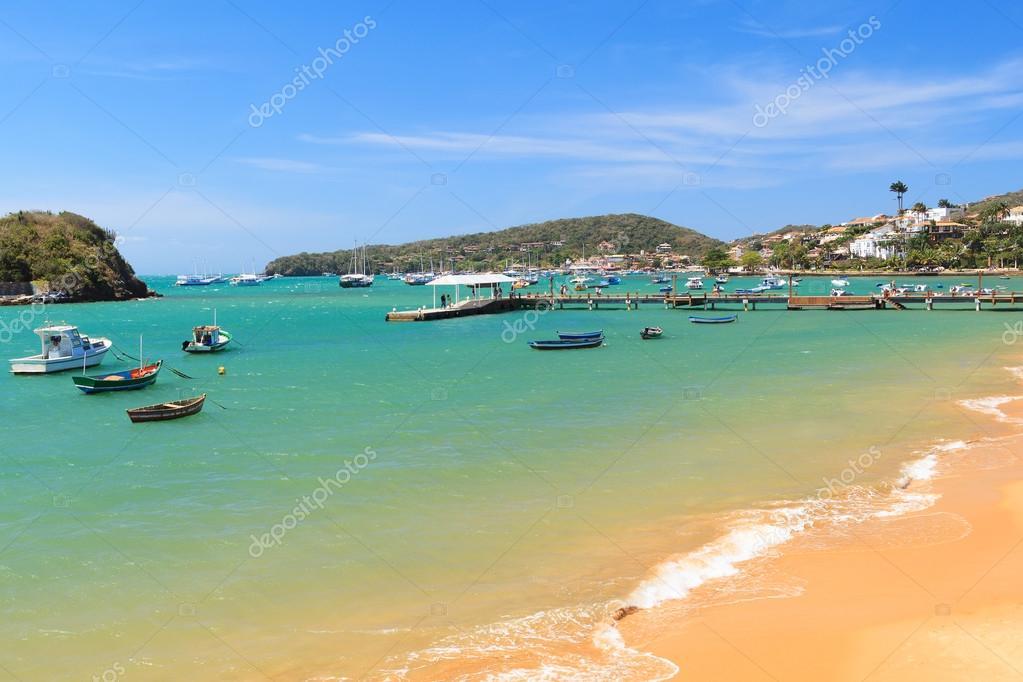 Pier, boats, sea in Armacao dos Buzios near Rio de Janeiro, Braz