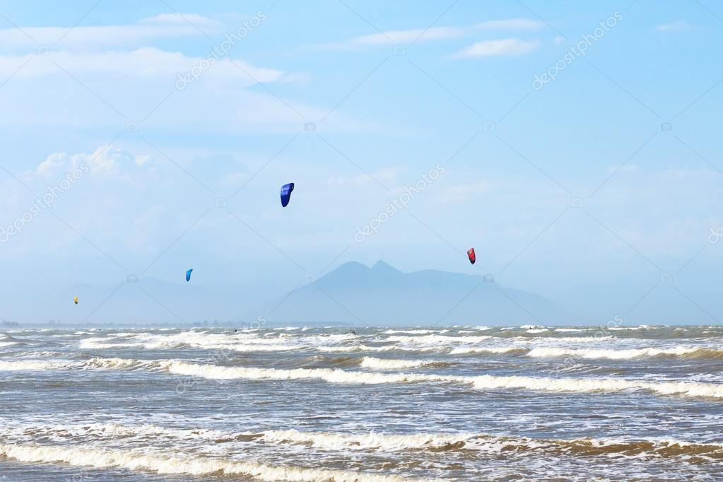 Kitesurfing on beach Rasa in Armacao dos Buzios near Rio de Jane