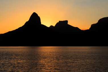 Sunset Lagoon Rodrigo de Freitas (Lagoa), mountain, Rio de Janei
