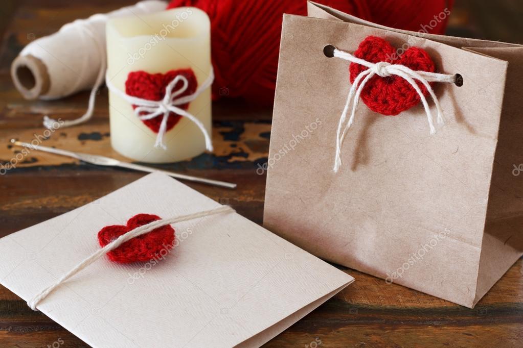 Saint Valentin Dekoration: Handarbeit häkeln rote Herz für Greet ...