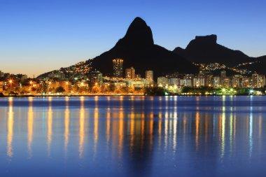Sunset night Lagoon Rodrigo de Freitas (Lagoa), mountain, Rio de