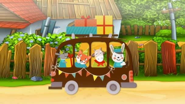 Lišek, myš, ovce a králík jít k vám na narozeniny (vesnice)