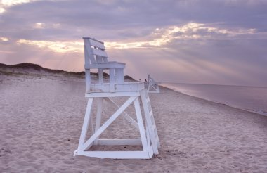 Lifeguard chair on beach, Cape Cod