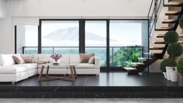 Modernes Wohnzimmer mit gemütlichem Sofa in Fensternähe. Luxus-Wohnbereich in der Nähe von Glasfenstern. Panoramafenster im Wohnzimmer. 3D-Visualisierung