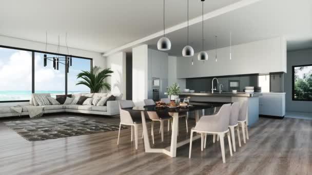 Moderne Kücheneinrichtung mit tropischem Blick. 3D-Visualisierung
