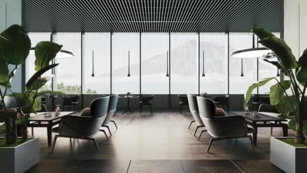 Interior of cozy and contemporary restaurant. Empty restaurant. 3d visualization