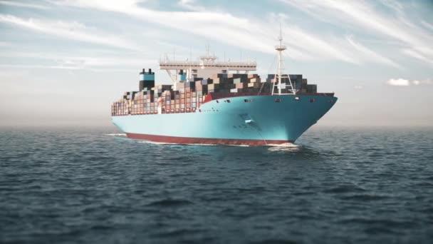 Kontejnerová loď dodává produkty do moře. Kontejnerová loď na otevřeném moři. 3D vizualizace