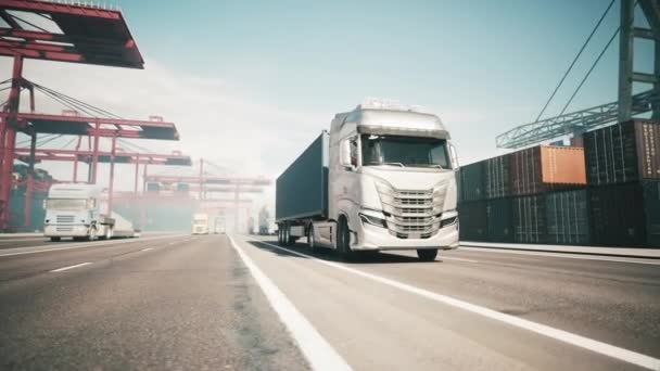 Container truck in the port. Industrial container yard. Truck in container terminal. 3d visualization
