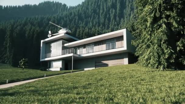 Draußen Haus mit Wald. Luxus-Haus im Wald. Privater Hubschrauber auf dem Dach des Hauses. Modernes Haus in einem Bergwald. 3D-Visualisierung