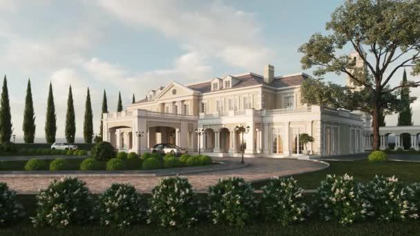 Luxusní zámeček se zahradou. Drahá auta ve vile. Luxusní vila vila dům. 3D vizualizace