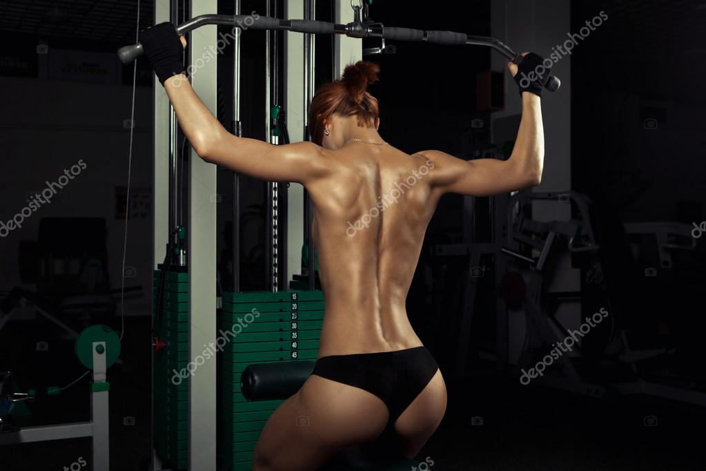 Muscle lady fitness training hot sexy