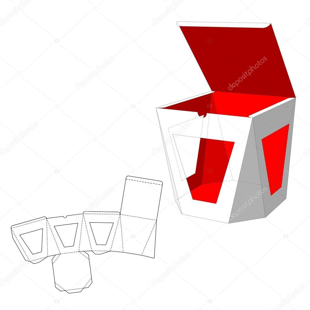 Caja con windows die cortar plantilla caja de embalaje para alimentos regalo o de otros - Caja rompecabezas ...