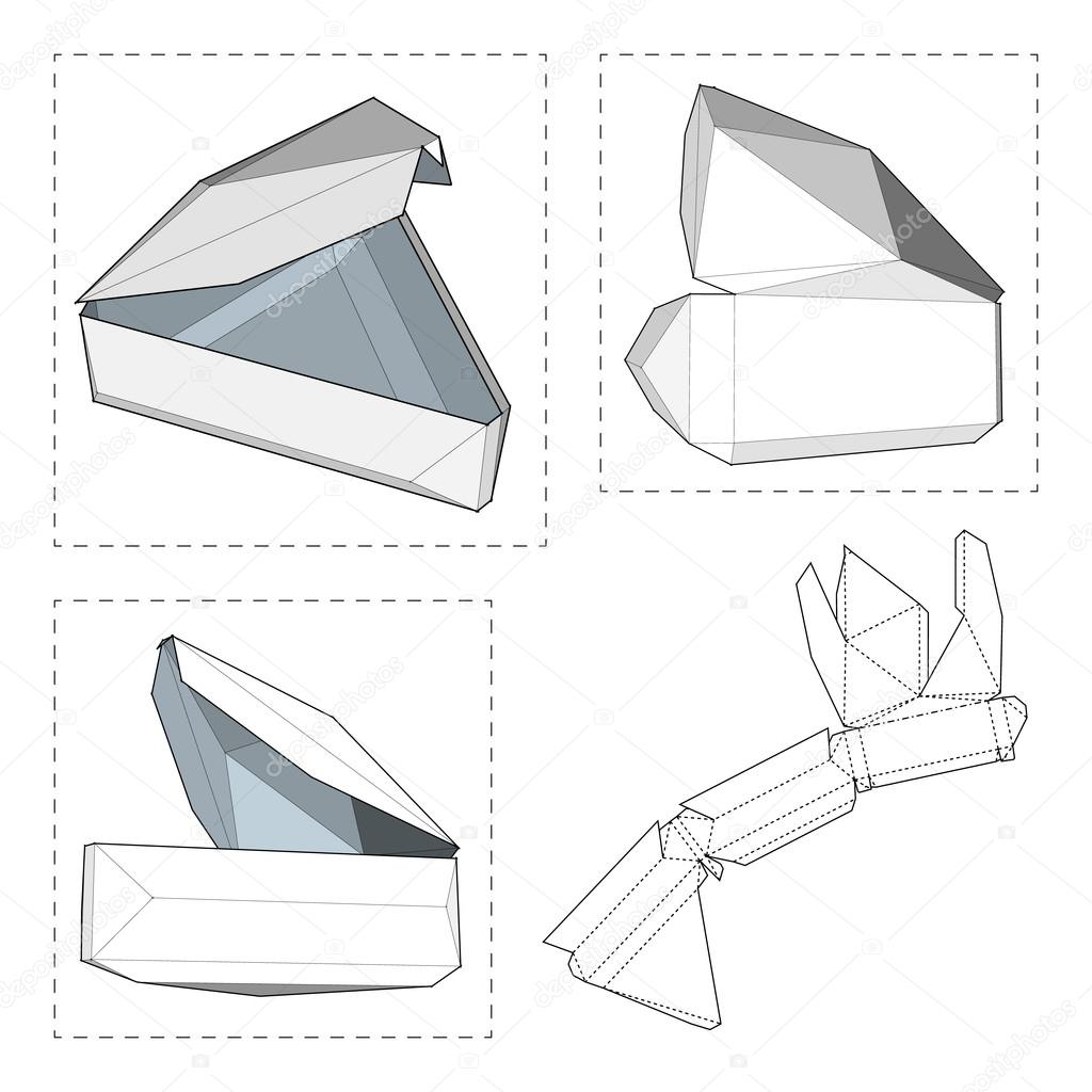 box with die cut template packing box for food gift or other