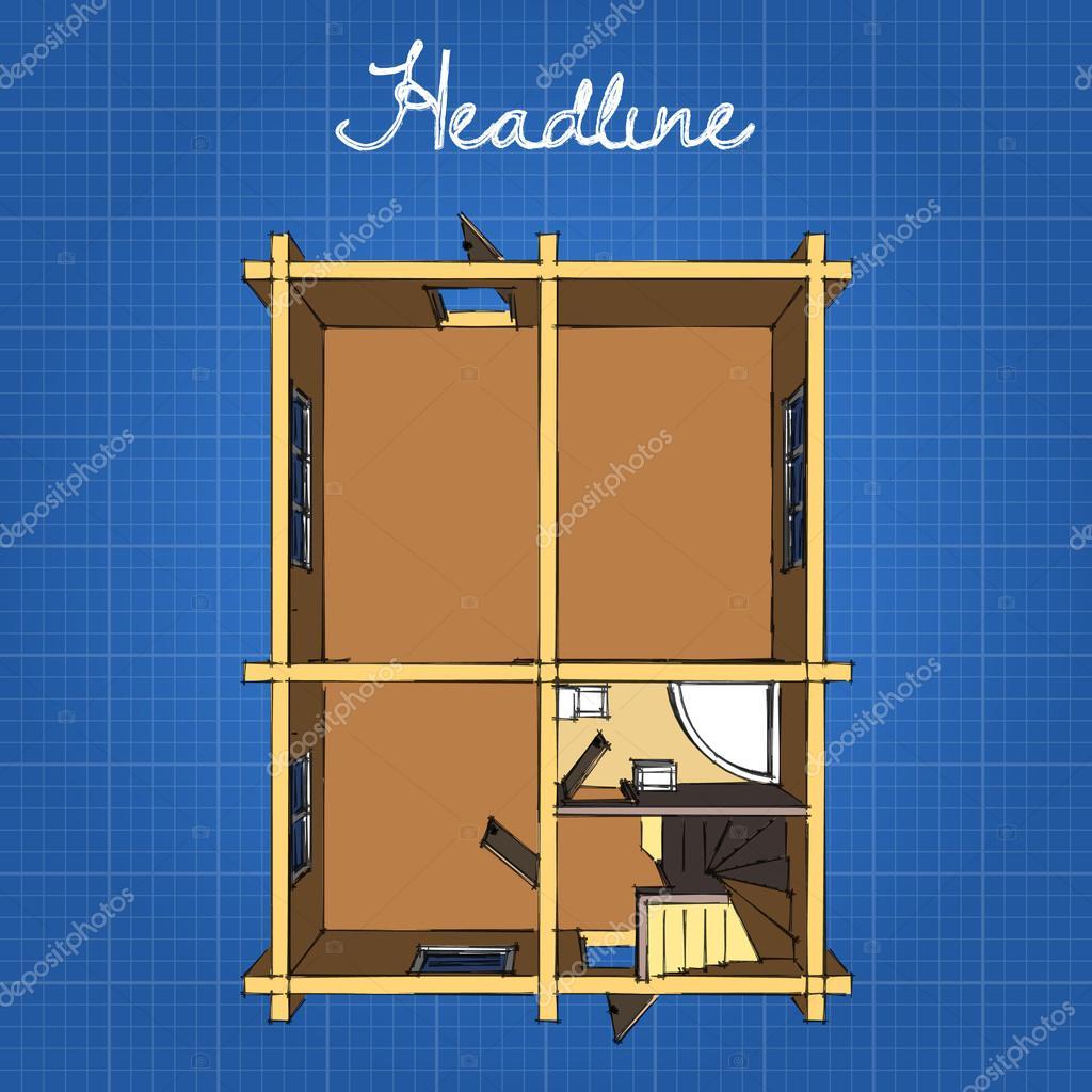 De indeling van het huis, de eerste verdieping. Keuken, badkamer ...